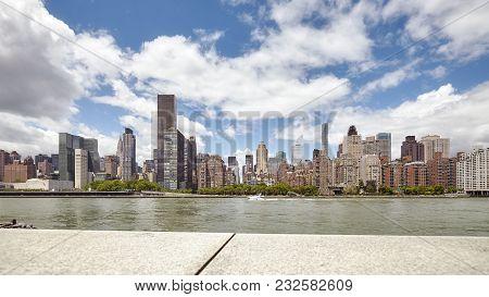 Manhattan Skyline Seen From The Roosevelt Island, New York City, Usa.