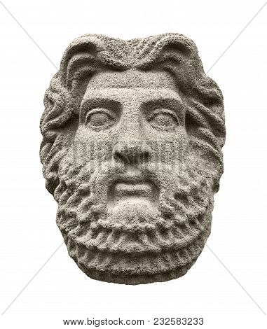 Sculptural Head Of God Zeus (jupiter), The Supreme Deity In The Ancient Greek And Roman Religion. Is