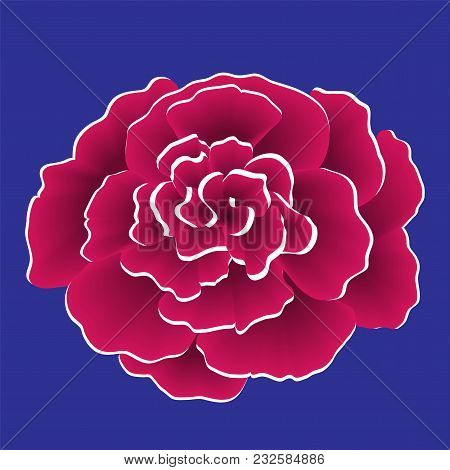 Single Red Paper Flower With White Edge. Vector Illustration Isolated On Blue Background.