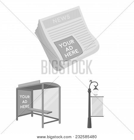 Production Of Advertising Monochrome Icons In Set Collection For Design. Advertising Equipment Vecto