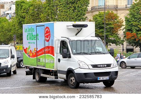 Paris, France - August 8, 2014: Commercial Delivery Truck Iveco Daily In The City Street.