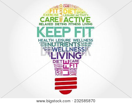 Keep Fit Bulb Word Cloud Collage, Health Concept