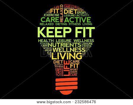 Keep Fit Bulb Word Cloud, Health Concept