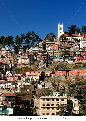 View On The Shimla Indian Rest City, In The Himalaya Mountains, India