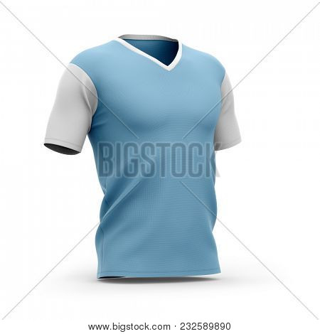 Men's v-neck t shirt with short sleeves. Half- front view. 3d rendering. Clipping paths included: whole object, collar, sleeve.