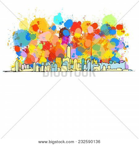 Colorful Skyline Of New York City With Large Ammount Of Splashes. Vector Drawing.