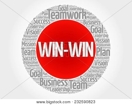 Win-win - Winning Solution Circle Word Cloud, Business Concept