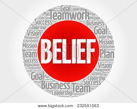 Belief Word Cloud Collage, Business Concept Background