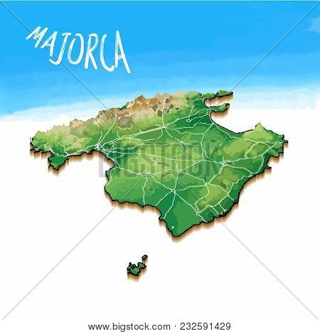 3d Island Map Of Majorca. Detailed Vector Illustration. Isolated Concept For Infographic And Marketi