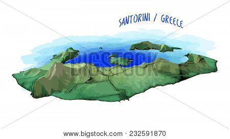 3d Island Map Of Santorini. Detailed Vector Illustration With Blue Water Background. Isolated Concep