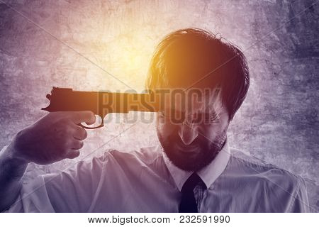 Businessman Points Gun To His Head, Disappointed Suicidal Man About To Commit A Suicide. Unemploymen