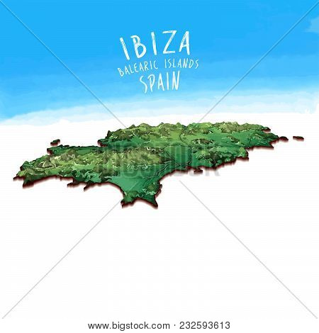 Modern Island Map Of Ibiza, Spain. Detailed Vector Illustration. Isolated Concept For Infographic An