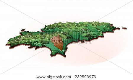 Island Map Of Ibiza With Drawing. Detailed Vector Illustration. Isolated Concept For Infographic And