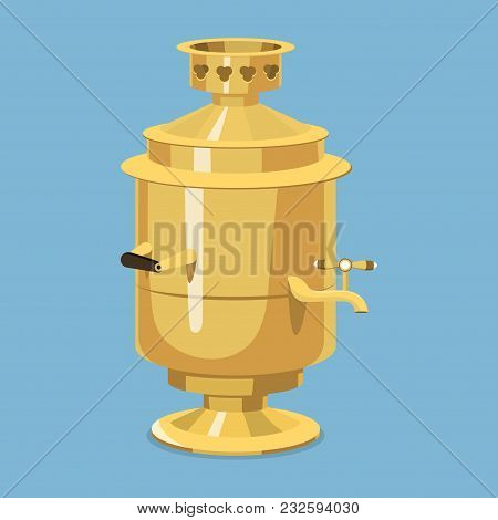 Traditional Russian Gold Samovar Culture Dish Course Drink Welcome To Russia Gourmet National Meal V