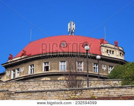 Round Historical Building With Red Roof And Wall Of Bricks In Bielsko-biala City Center In Poland Wi