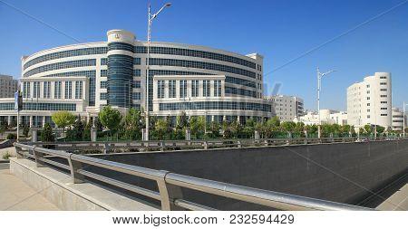 Ashgabat, Turkmenistan, April 19, 2017.  Modern Architecture Of Ashgabat.  View On The  New Building