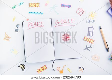 Top View Pushpin As An Arrow On Target Icon In Personal Planning Organizer With Goals And Plans Amon