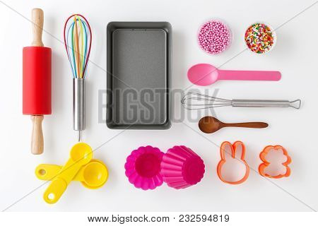 Baking Utensils And Tools On White