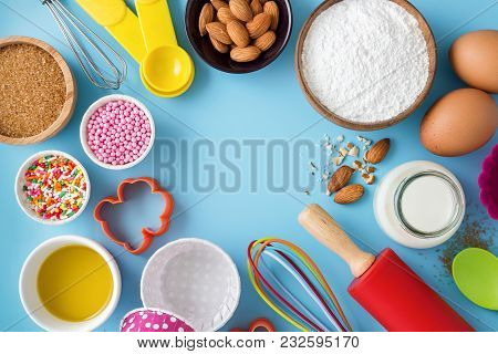 Baking Background With Ingredients And Utensils