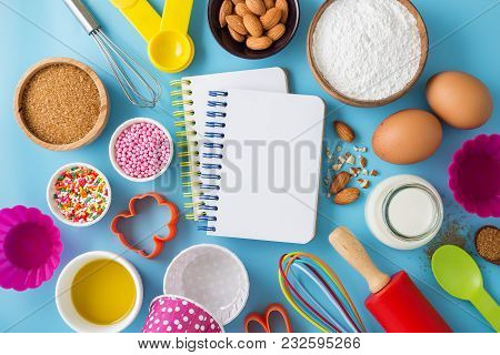 Baking Ingredients With Blank Recipe Book