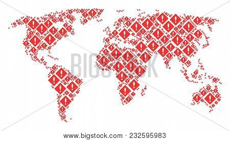 Global Map Mosaic Combined Of Error Icons. Vector Error Pictograms Are United Into Geometric Interna