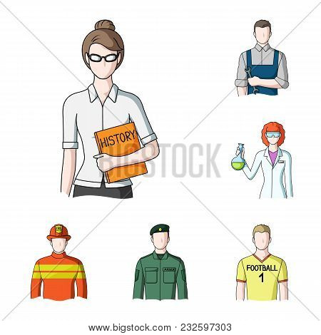People Of Different Professions Cartoon Icons In Set Collection For Design. Worker And Specialist Ve