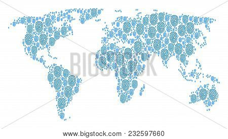 Continent Map Mosaic Done Of Fingerprint Icons. Vector Fingerprint Icons Are Organized Into Conceptu