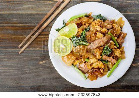 Thai Food, Stir Fried Rice Noodle In Soy Sauce (pad See Ew), Top View Of Food