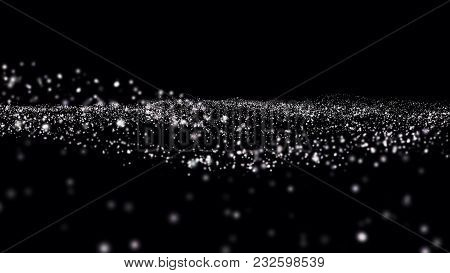 Dust Particles. Natural Floating Organic Particles On Black Background. Abstract Particle Background