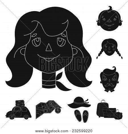 Family Holiday Black Icons In Set Collection For Design. Recreation And Equipment. Vector Symbol Sto