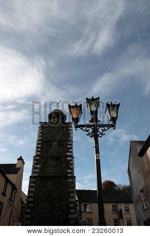 Street Lamp And Clock At Dusk