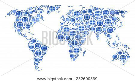 Geographic Map Collage Constructed Of Globe Icons. Vector Globe Design Elements Are United Into Conc