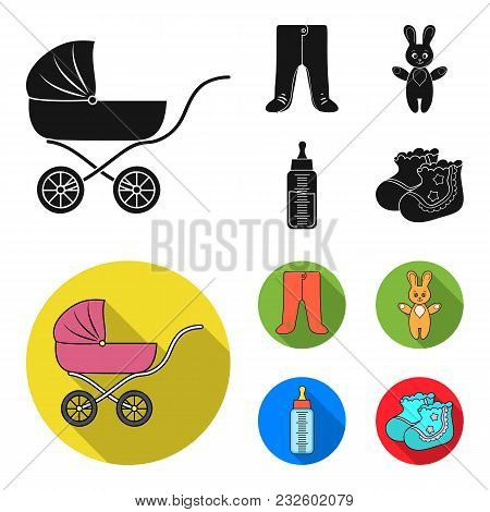 Stroller, Bottle With A Pacifier, Toy, Sliders.baby Born Set Collection Icons In Black, Flat Style V