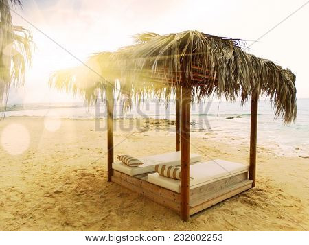 Sandy Beach Umbrella Coast In The Mediterranean Sea Landscape On Cyprus Island