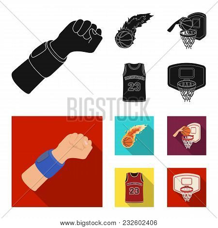 Basketball And Attributes Black, Flat Icons In Set Collection For Design.basketball Player And Equip
