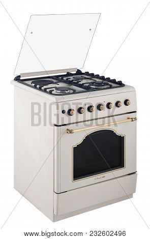 Gas Free Standing Cooker Isolated On White