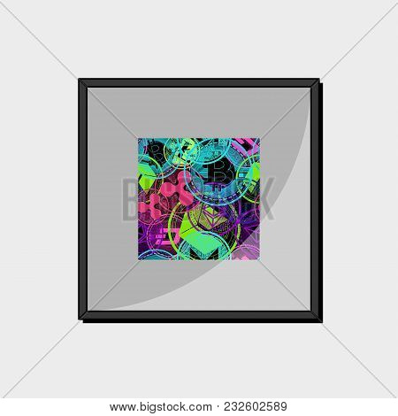 Abstract Picture With A Picture Of A Crypto Currency In A Frame