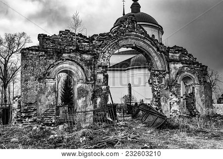 Russia, The Destroyed Arch In The Cemetery