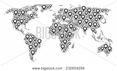 Global Geography Map Composition Created Of Map Marker Icons. Vector Map Marker Pictograms Are Organ
