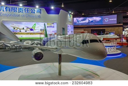 Singapore - Feb 11, 2018. A Comac C919 Twinjet Airliner On Display In Changi, Singapore.