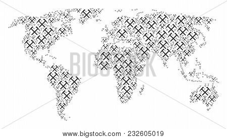 Continent Atlas Concept Designed Of Mining Hammers Pictograms. Vector Mining Hammers Icons Are Unite