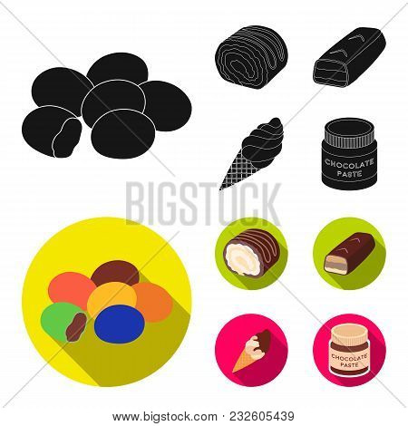 Dragee, Roll, Chocolate Bar, Ice Cream. Chocolate Desserts Set Collection Icons In Black, Flat Style