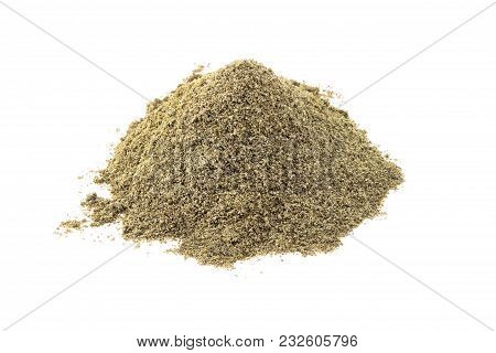 A Bunch Of Powdered Ingredients Isolated On White Background
