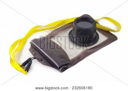 Plastic Case For Photography Camera Under Water Isolated On White