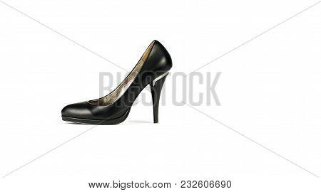Black Leather Elegant And Stylish Womens Shoe With High Heel Isolated On White Background, Fashion,