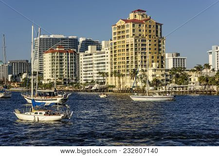 Highrise Buildings And Boats On The Intercoastal Waterway In Fort Lauderdale, Florida