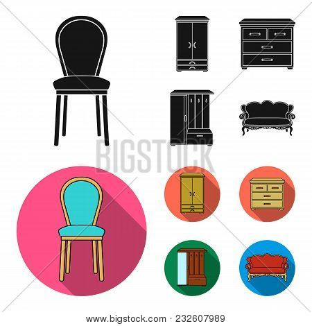 Armchair, Cabinet, Bedside, Table .furniture And Home Interiorset Collection Icons In Black, Flat St