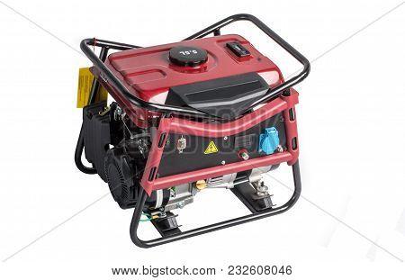 Portable Benzin Generator. Isolated White Background. Elelectric Ac Generator Isolated On White.