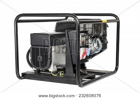 Electric Ac Generator Isolated On White . Power Electric Ac Generator, Benzin,  Isolated On White