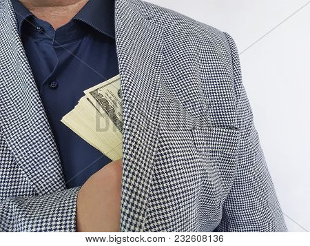 Man In Suit Dollars In Pocket Commission, Hand, Wealth, Symbol, Mature, Bribe